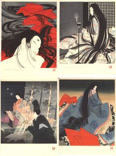 Genji emaki, a complete set of four prints, illustrating four chapters of the Genji monogatari - The Tale of Genji, written by Murasaki Shikibu in the early 11th century. Four chapters are illustrated:Akashi, Matsukaze, Hotaru and Wakana, chapters 13, 18, 25 and 34 respectively.  Artist: Okada Yoshio
