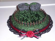 Custom Gothic Headstone Wedding Cake Topper by sarwynravenfae