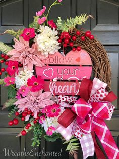 valentinesday Excited to share this item from my shop: Valentines Day Wreath Front Door Heart Wreath Pink Red White Floral Wreath Your Heart Wreath February Wreath Valentines Decor Bow Valentine Day Wreaths, Valentines Day Decorations, Valentine Day Crafts, Holiday Wreaths, Printable Valentine, Homemade Valentines, Valentine Box, Valentine Ideas, Pink Wreath