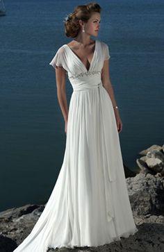 Vintage Fly Sleeve Beach Wedding Dress - Beach Wedding Dresses - just CA$156