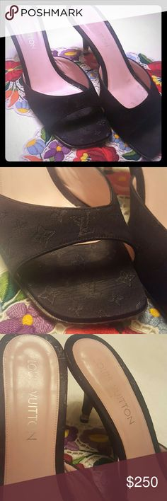 """LOUIS VUITTON SLIDES HEELS 100% Authentic Louis Vuitton!! Leather and silk satin Monogram LV. They has a pink inside. A very light mark on the toes area.  Very Good condition. 3"""" heels. Louis Vuitton Shoes Heels"""