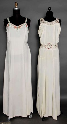 Two Beaded White Evening Gowns, 1930s, Augusta Auctions, April 8, 2015 NYC, Lot 189