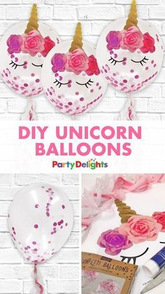 Make your unicorn party even more magical with these easy DIY unicorn balloons! Quick and easy to make with confetti balloons and our free printables. Diy Party Crafts, Birthday Party Decorations Diy, Balloon Decorations Party, Birthday Crafts, Unicorn Birthday Parties, Craft Party, Birthday Balloons, Birthday Ideas, Diy Unicorn Party