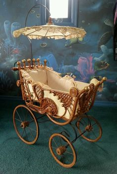 Rare Antique Baby Doll Carriage Buggy Stroller Pram Wicker Lace with Parasol