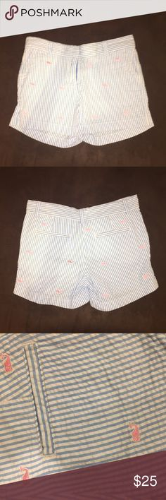 Vineyard Vines Seersucker Whale Shorts These Vineyard Vines seersucker whale shorts are barely worn and are in great shape! They are super cute and are size Girls 14, but fit just as well as a Womens XS! Vineyard Vines Bottoms Shorts