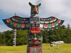 This is a collection of photographs of various totem poles by North American Native Americans