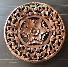 White Thick Bohemian Bed Headboard Sculpture Lotus Flower Wooden Hand Craved Carving Teak Wood Brown Art Panel Wall Home Decor Thai Wooden Wall Art Panels, Wood Panel Walls, Panel Wall Art, Decorative Panels, Bohemian Headboard, Thai Decor, Wood Carving Designs, Brown Art, Wood Display