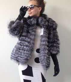 Bolero jacket coat fur silver  fox