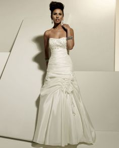 Strapless dropped waist A-line taffeta wedding dress with chapel train
