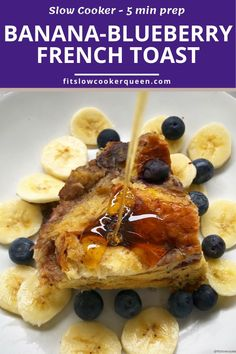 SLOW COOKER BANANA-BLUEBERRY FRENCH TOAST - This French toast made with bananas and blueberries cooks overnight in the slow cooker. Wake up to an aromatic kitchen and fluffy, delicious French toast breakfast that's sure to impress. Slow Cooker Desserts, Slow Cooker Recipes, Crockpot Recipes, Delicious Breakfast Recipes, Savory Breakfast, Yummy Food, Blueberry French Toast, Recipe Creator, Sweet Recipes