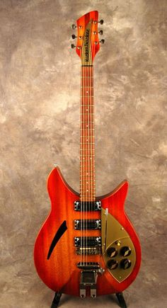 Both the deluxe and standard Capri models could be ordered with three pickups, as shown on this example, which also features a rare mahogany body with distinct ribbon flame and a Kauffman vibrola. The middle pickup was wired in sync with the neck pickup. Guitar Tips, Guitar Art, Music Guitar, Guitar Chords, Cool Guitar, Guitar Lessons, Playing Guitar, Rickenbacker Guitar, Guitar Quotes