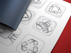 Brilliant App Icon Sketches By Ramotion - UltraLinx