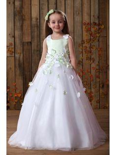 Scoop Ball Gown Floor-Length Appliques Flower Girl Dress