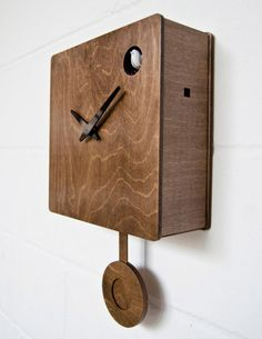 When you think of cuckoo clocks, if you think of them at all, you probably don't think of minimalism and style. But London-based industrial designer Pedro Mealha does, and produces some rather modernist variants like his model B83: The bird makes its appearance via the small hole at top right: