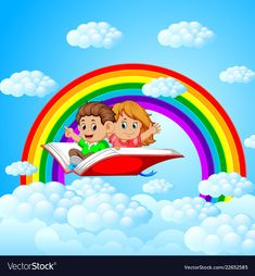 Happy kids flying on big open book with rainbow vector image on VectorStock Classroom Walls, Classroom Decor, Preschool Crafts, Crafts For Kids, School Frame, School Murals, School Painting, School Clipart, Art Drawings For Kids