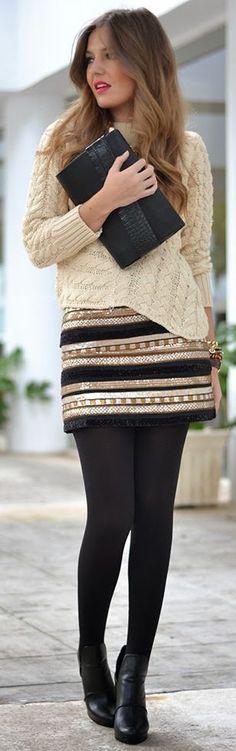 Black And Gold Stripe Sequin Embellished Mini Skirt by Mi Aventura Con La Moda