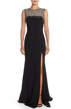 Theia Embroidered Illusion Yoke Gown available at #Nordstrom