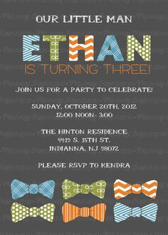 little man bow tie birthday party by freshlysqueezedcards on Etsy. Had to pin this since boy is Ethan & mom is Kendra (and it's cute!). You don't see that very often! ;)