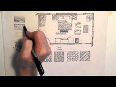 +++Demonstration adding texture to a floor plan Interior Design Renderings, Interior Rendering, Interior Sketch, Sketch Design, Layout Design, Copic, Marker, Drafting Drawing, Rendering Techniques