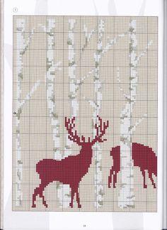 Hirsch im Wald € . Xmas Cross Stitch, Just Cross Stitch, Cross Stitch Borders, Cross Stitch Animals, Cross Stitch Charts, Cross Stitch Designs, Cross Stitching, Cross Stitch Embroidery, Cross Stitch Patterns
