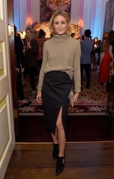 Olivia Palermo- Turtleneck with front slit pencil skirt | Maria Maliki Blog