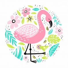 Flamingos patterns collection in flat style Vector Flamingo Birthday, Flamingo Party, Flower Background Wallpaper, Flower Backgrounds, Design Mignon, Adobe Illustrator, Flamingo Pattern, Pretty Wallpapers, Displaying Collections