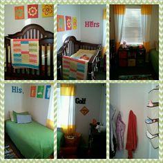 My kids' shared room, Toddler boy, baby girl.