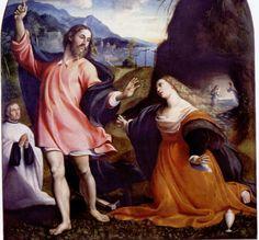 "Magdalena Noli me tangere Sacchis, Giovanni Antonio "" Il Pordenone "" Jesus Resurrection, Jesus Christ, Renaissance, Noli Me Tangere, Michelangelo, Baroque, Artist, Sunday, Mary"