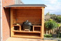 Outdoor Grill Area, Bbq Area, Outdoor Pergola, Outdoor Spaces, Outdoor Living, Big Green Egg Outdoor Kitchen, Outdoor Kitchen Design, Summer House Garden, Home And Garden
