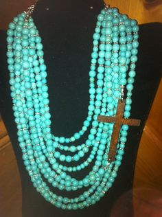 Ten Strand Turquoise Necklace with Rust Cross