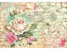 """Papierbögen - Motiv-Strohseide """"Antique Rose"""" - ein Designerstück von vbs-hobby-versand bei DaWanda"""