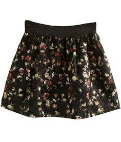 Falda Floral Vintage -negro 12.04