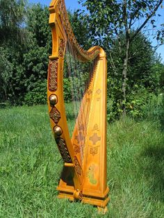 "Hand Made Angel Tara 36 String Concert Harp by Celtic Harps ""Tree Of . Hammered Dulcimer, Celtic Music, Celtic Symbols, Celtic Designs, Musical Instruments, Celtic Instruments, Minion, Around The Worlds, Angel"