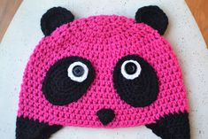 Pink Panda Hat Pattern from Crochet in Color Crochet Panda, Crochet Kids Hats, Crochet Cap, Crochet Beanie, Crochet Hooks, Free Crochet, Crocheted Hats, Crochet Character Hats, Pink Panda