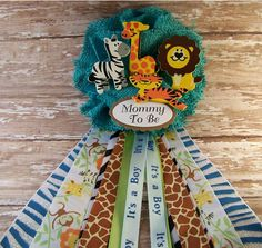 Boy Safari Animals Mommy To Be Corsage Baby Shower Corsage Safari Theme  Corsage