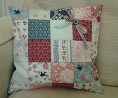 """*HANDMADE* RASPBERRY PINK NAVY VELVET FLORAL PATCHWORK CUSHION COVER 14""""X14"""" in Home, Furniture & DIY, Home Decor, Cushions 