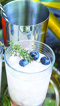 Create cocktails using fresh herbs and fruit grown right in your garden. Click in for a refreshing mojito recipe and easy-to-follow directions. The thyme, blueberries and lemon really make this drink pop.