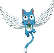 Happy-is a six-year-old blue-furred cat-like creature called an Exceed. Using the magical ability Aera, Happy is able to fly by growing white feathered wings, and can also carry up to one person.Six years before the series' present, Happy is sent from the parallel world Edolas to Earth-land as an egg for protection after the Exceeds' queen, Chagot, has a premonition of their realm's destruction.He is soon found by Natsu, who cares for him together with Lisanna Strauss until he hatches. ♥