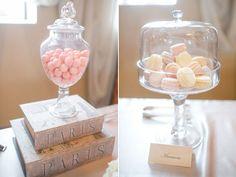 Parisian Bridal Shower desserts, macaroons with vintage parisian books Chanel Bridal Shower, Paris Bridal Shower, Bridal Shower Desserts, Bridal Shower Decorations, Bridal Shower Favors, Bridal Showers, Parisian Wedding, Deco Retro, Printable Bridal Shower Games