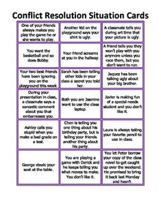 Anger Control Kit: Conflict Resolution Situation Cards - the healing path with children Social Skills Lessons, Social Skills Activities, Teaching Social Skills, Counseling Activities, Social Emotional Learning, Coping Skills, Therapy Activities, Communication Activities, Therapy Ideas