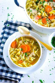 Make this quick and easy Rotisserie Chicken Noodle Soup recipe in just 30 minutes. It's the comfort food recipe your family craves for easy weeknight dinners. It serves 6 and costs just $10.02 to make. That's just $1.67 per serving.