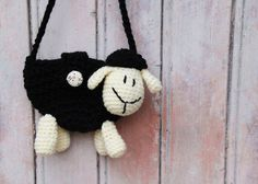Black Sheep Purse, lovely small purse for children, handmade crochet animal accessory, wool purse