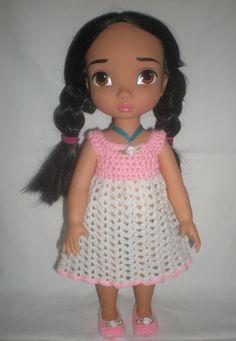 tenue rose et blanche au crochet pour disney animators : Jeux, jouets par nina56
