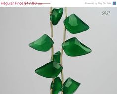 ON SALE Green Onyx Flame Shaped Briolettes by rocksamillion