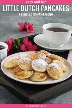 Easy poffertjes recipe to make little Dutch pancakes dusted with powdered sugar. Learn how to make these mini Dutch pancakes and enjoy them in the mornings for breakfast with butter and maple syrup. Brunch Recipes, Breakfast Recipes, Pancake Recipes, Breakfast Pancakes, Breakfast Dishes, Bread Recipes, Mini Dutch Pancakes, Buckwheat Cake, Cupcakes