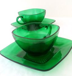 Vintage Anchor Hocking Emerald Green Tea Cup and Saucers Depresson Glass Tea Party Replacement Glass by MRMSecondTimeAround on Etsy