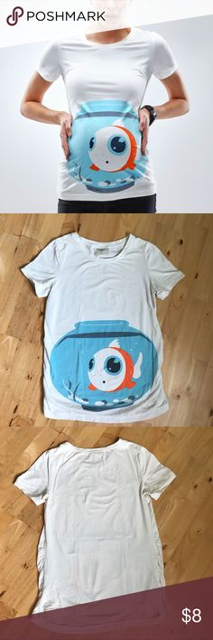 Mamagama brand goldfish maternity shirt Fun maternity shirt with image of goldfish bowl on the belly! White shirt color with blue and orange goldfish bowl design. Gathering of material on each side accommodate a growing baby belly. From a pet-free and smoke-free home. Tops Tees - Short Sleeve