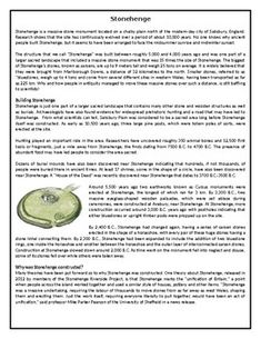 This Reading Comprehension worksheet is suitable for higher elementary to proficient ESL learners or native English speakers. The text describes the history and possible use of Stonehenge. After carefully reading the text, students are required to complete some comprehension exercises including a true or Comprehension Exercises, Reading Comprehension Worksheets, Stonehenge, Learn English, Esl, Speakers, Teaching Resources, Lesson Plans, Texts