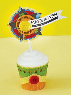 Cupcake holder and topper made from scrapbook supplies by Vicki Boutin