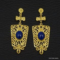 BIG NATURAL LAPIS FILIGREE 925 STERLING SILVER 22K GOLD PLATED GREEK EARRINGS #IreneGreekJewelry #DropDangle